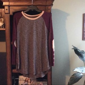 3/$50 Taupe & Burgundy Elbow Patch Tunic